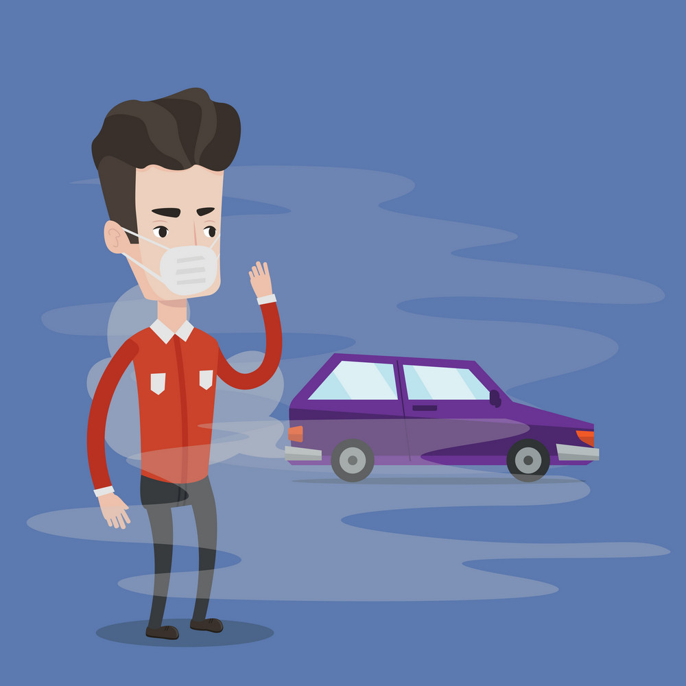 Young man standing on the background of a smoking car. Man wearing a mask to reduce the effect of traffic pollution. Concept of toxic air pollution. Vector flat design illustration. Square layout.