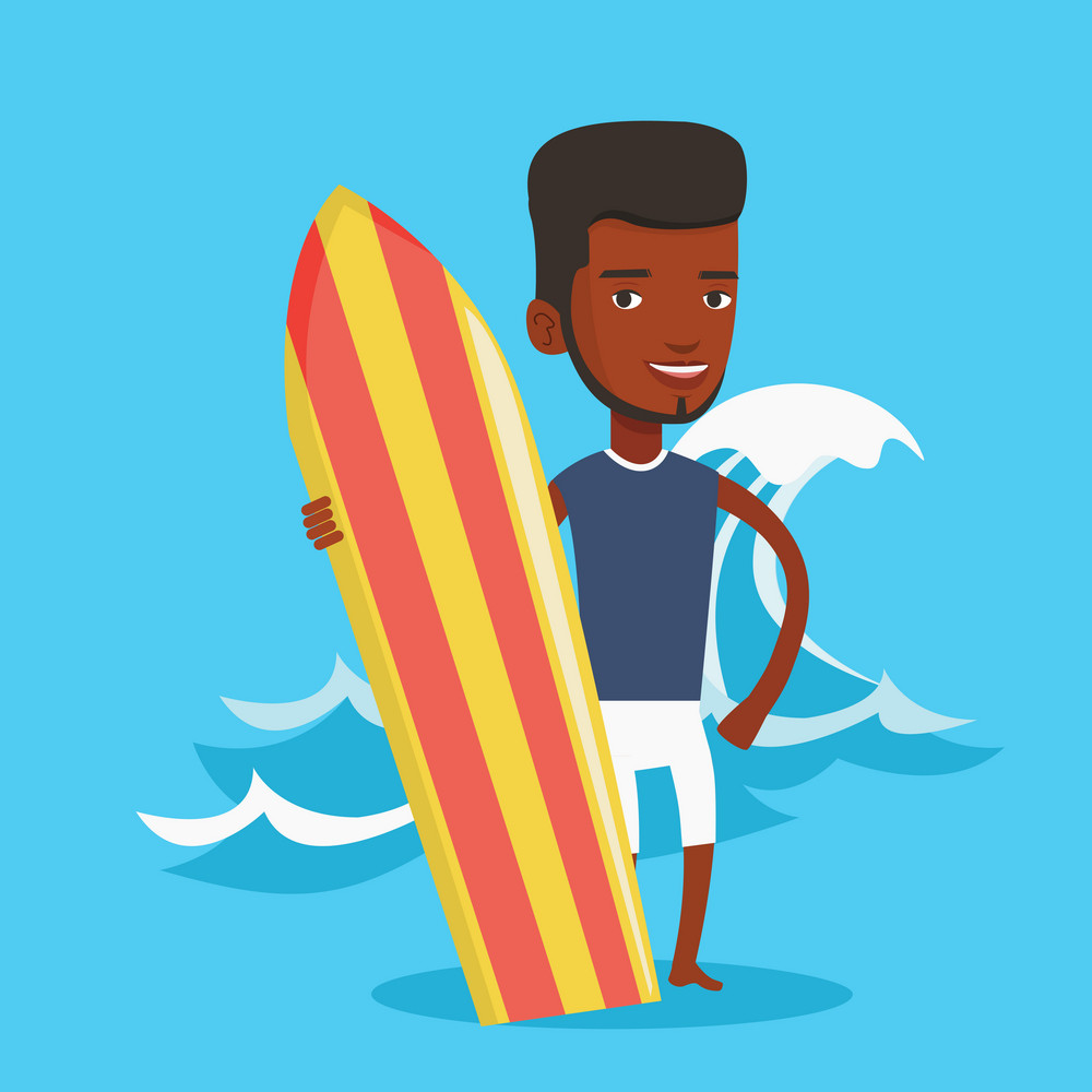 Young man standing with a surf board on the beach. Professional surfer with a surf board at the beach. Surfer standing on the background of sea wave. Vector flat design illustration. Square layout.
