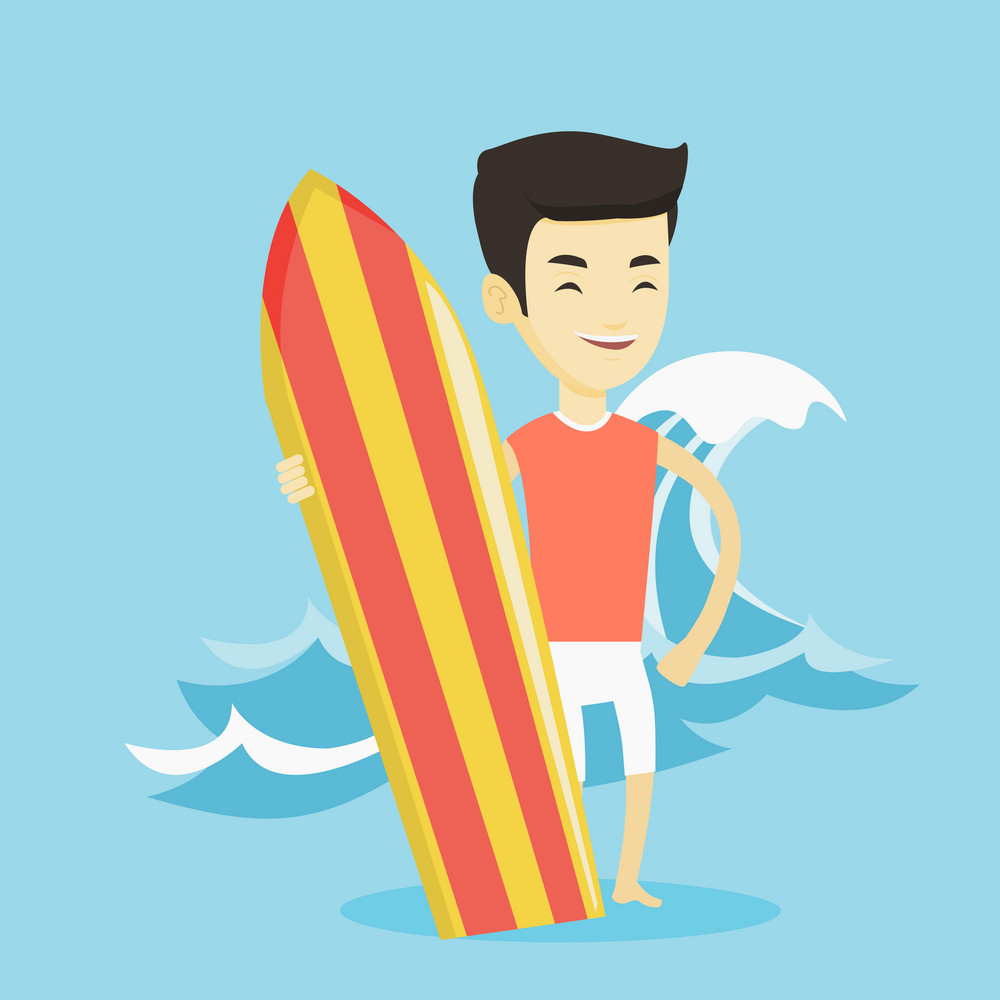 Young man standing with a surfboard on the beach. Professional surfer with a surf board on the beach. Surfer standing on the background of huge sea wave. Vector flat design illustration. Square layout