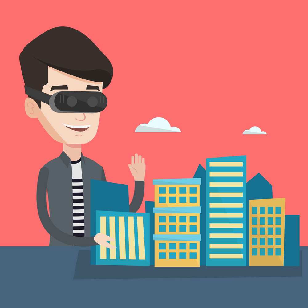 Young man wearing virtual reality headset and getting into vr world. Man developing a project the architecture of the city using virtual reality glasses. Vector flat design illustration. Square layout