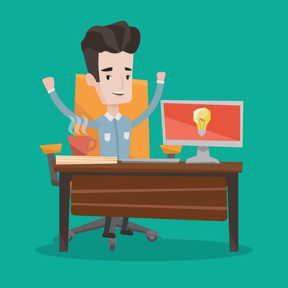 Young man with arms up having a business idea. Cheerful businessman working on a computer with a business idea bulb on a screen. Business idea concept. Vector flat design illustration. Square layout.