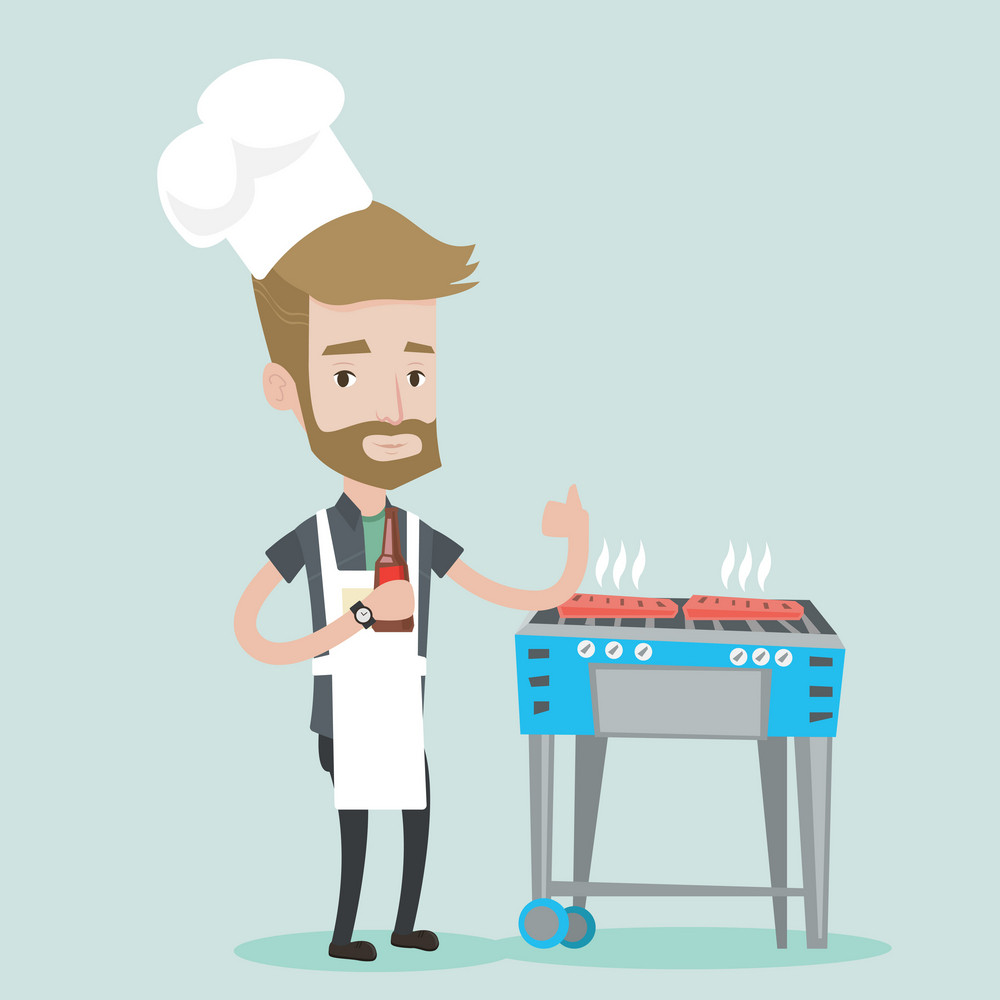 Young man with bottle in hand cooking meat on gas barbecue grill and giving thumb up. A hipster man with the beard cooking meat on barbecue grill. Vector flat design illustration. Square layout.