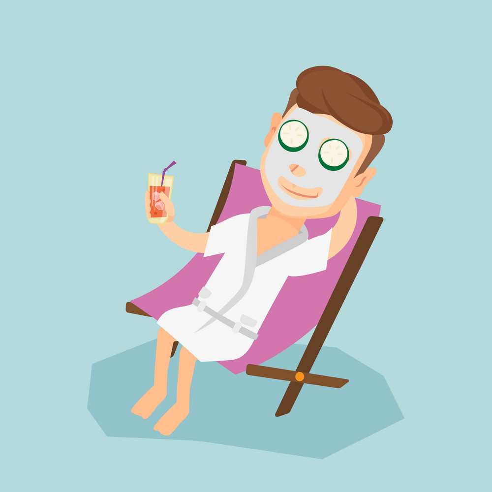 Young man with face mask and cucumber slices on eyes lying in chaise lounge in beauty salon. Man relaxing in beauty salon. Man having beauty treatments. Vector flat design illustration. Square layout.