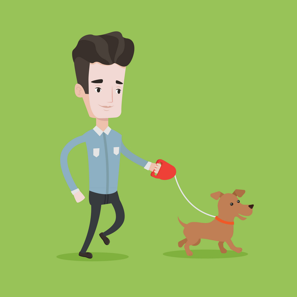 Young man with his dog. Happy man taking dog on walk. Caucasian man walking with his small dog. Smiling man walking a dog on leash. Vector flat design illustration. Square layout.