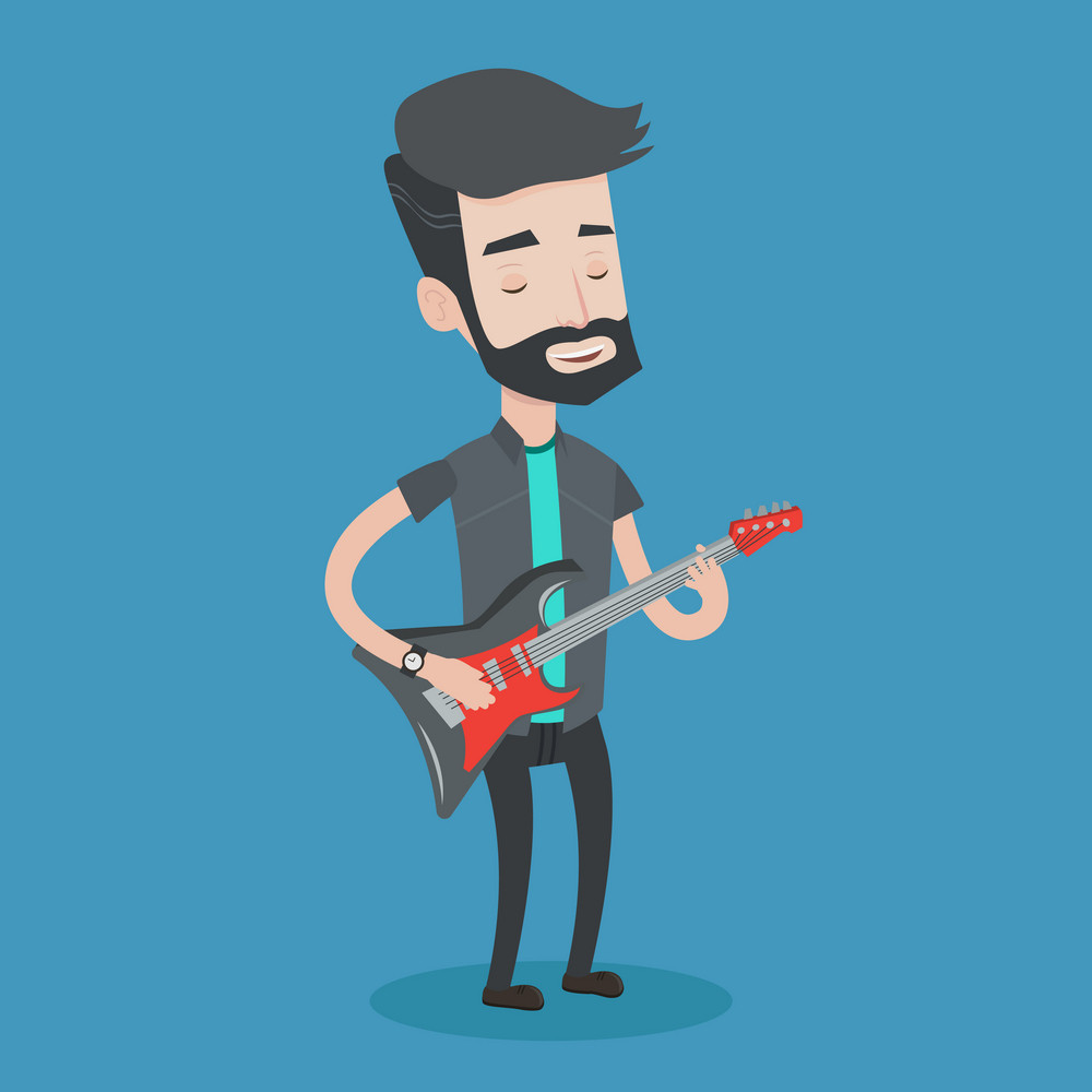 Young musician playing electric guitar. A hipster man with the beard practicing in playing guitar. Guitarist with his eyes closed playing music. Vector flat design illustration. Square layout.