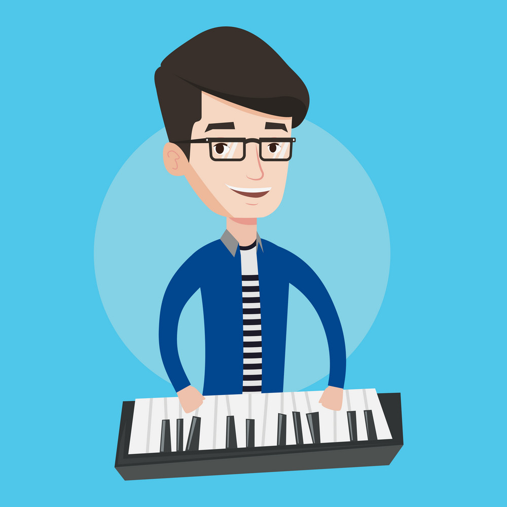 Young musician playing piano. Pianist playing upright piano. Male artist playing on synthesizer. Vector flat design illustration. Square layout.