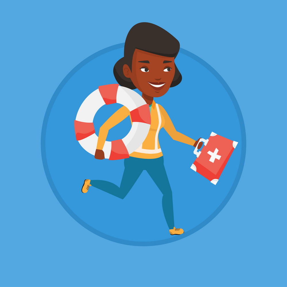 Young paramedic running to patient. Paramedic running with first aid box. Emergency doctor running with first aid box and lifebuoy. Vector flat design illustration in the circle isolated on background