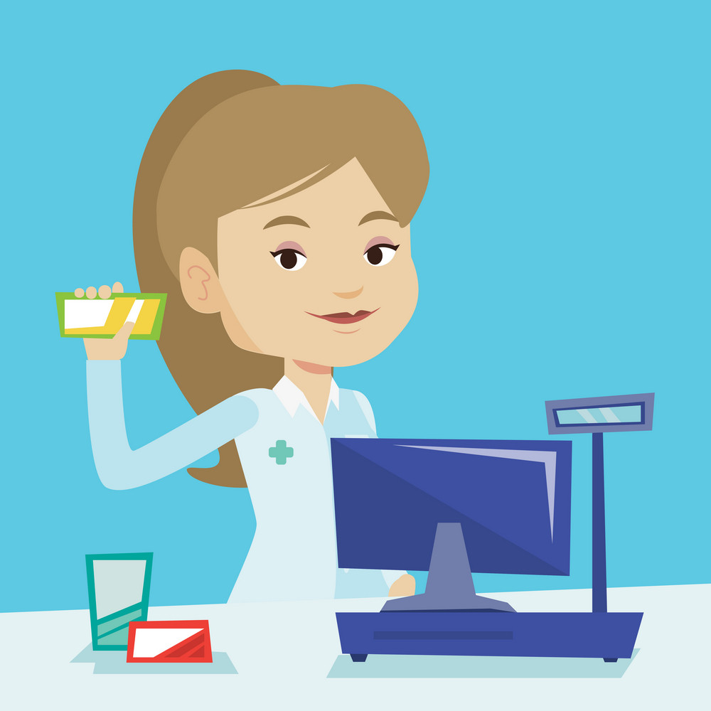 Young pharmacist in medical gown standing at the counter in the pharmacy. Pharmacist showing some medicine. Female pharmacist holding a box of pills. Vector flat design illustration. Square layout.