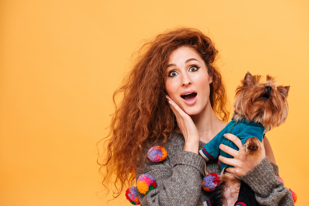 Young red head woman looking surprised while holding her dog isolated on orange background