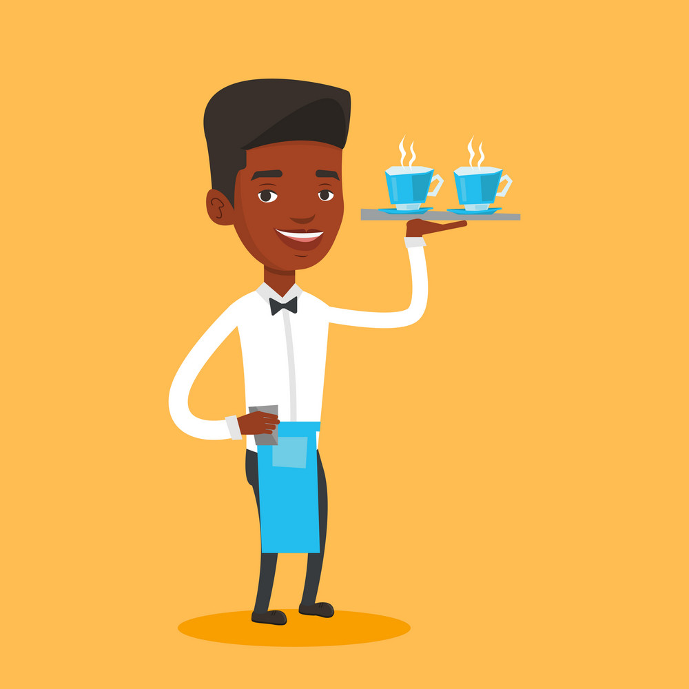 Young smiling african-american waiter holding a tray with cups of tea or coffee. Friendly waiter standing with tray with cups of hot flavoured coffee. Vector flat design illustration. Square layout.