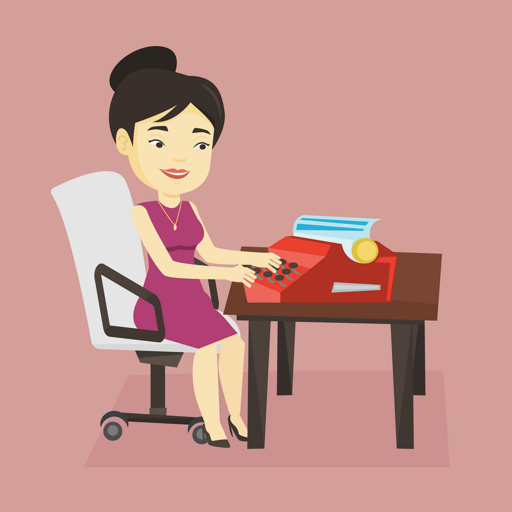 Young smiling asian female journalist writing an article on a vintage typewriter. Concentrated female journalist working on retro typewriter. Vector flat design illustration. Square layout.