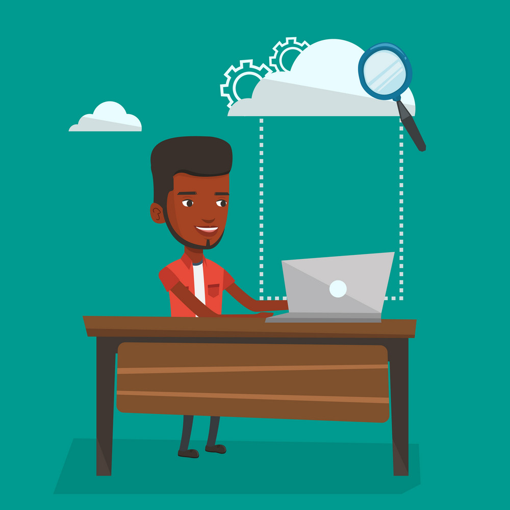 Young smiling businessman working on laptop under cloud. An african-american businessman using cloud computing technologies. Cloud computing concept. Vector flat design illustration. Square layout.