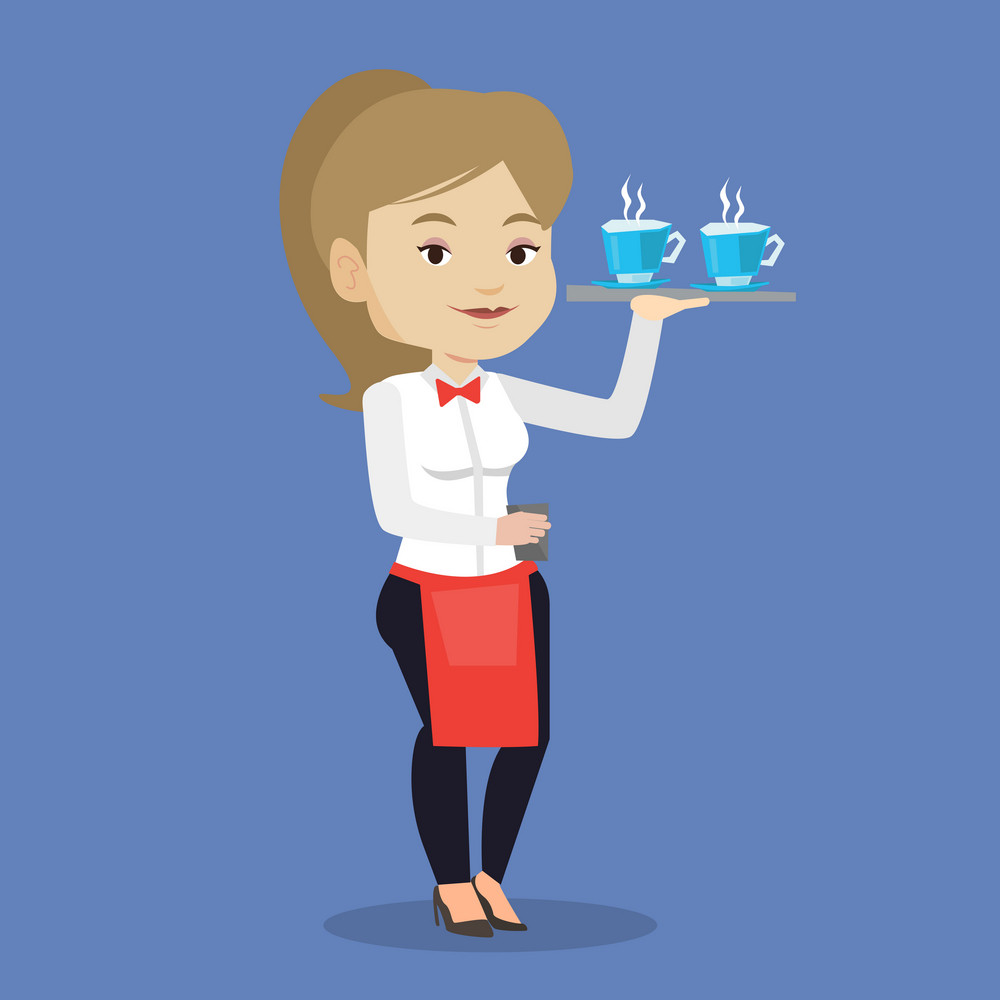 Young smiling caucasian waitress holding a tray with cups of tea or coffee. Friendly waitress standing with tray with cups of hot flavoured coffee. Vector flat design illustration. Square layout.