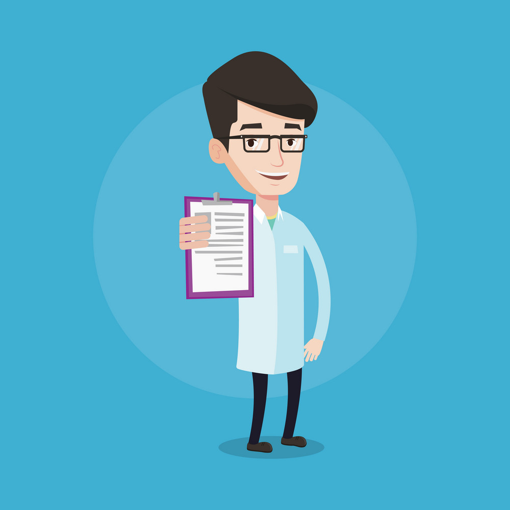 Young smiling cheerful male doctor showing clipboard with prescription. Doctor in medical gown holding clipboard. Vector flat design illustration isolated on blue background. Square layout.