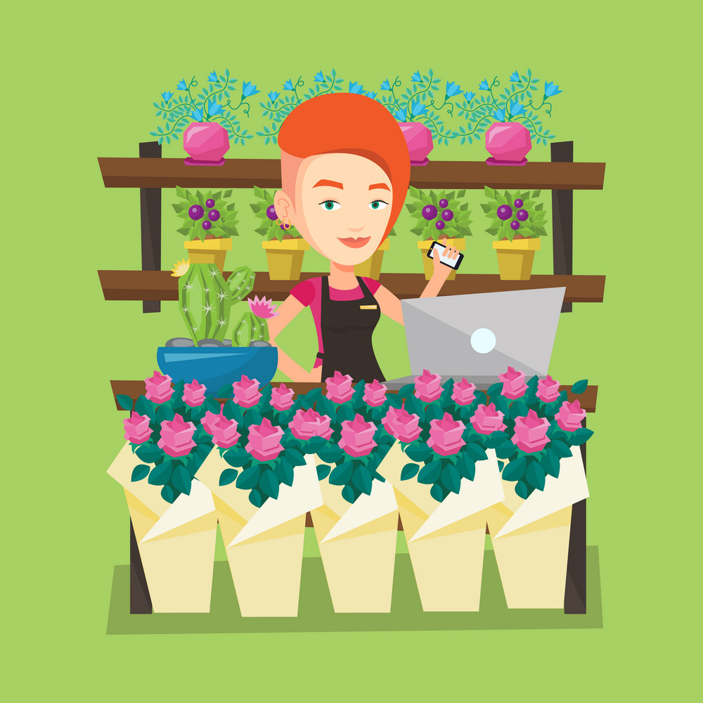 Young smiling florist using phone and laptop to take order. Friendly florist standing behind the counter at flower shop. Woman working in flower shop. Vector flat design illustration. Square layout.