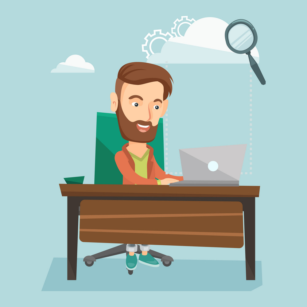 Young smiling hipster business man working on laptop under cloud. Caucasian business man using cloud computing technologies. Cloud computing concept. Vector flat design illustration. Square layout.
