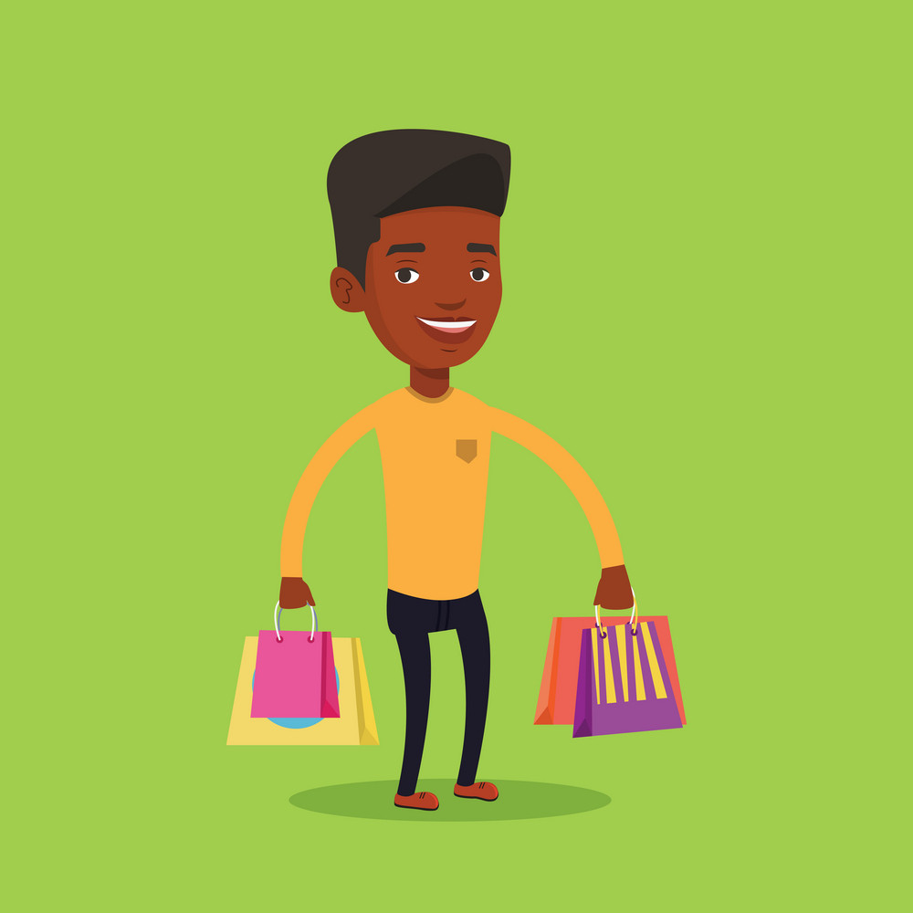 Young smiling man holding shopping bags. Happy african-american man carrying shopping bags. Man standing with a lot of shopping bags. Vector flat design illustration. Square layout.