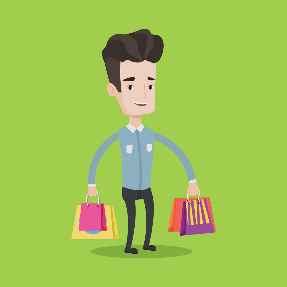Young smiling man holding shopping bags. Happy caucasian man carrying shopping bags. Man standing with a lot of shopping bags. Vector flat design illustration. Square layout.