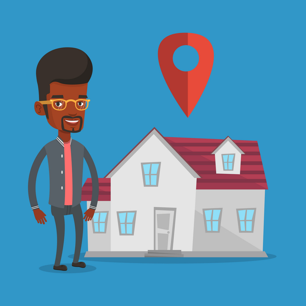 Young smiling real estate agent standing on the background of map pointer above the house. Happy male real estate agent offering house. Vector flat design illustration. Square layout.