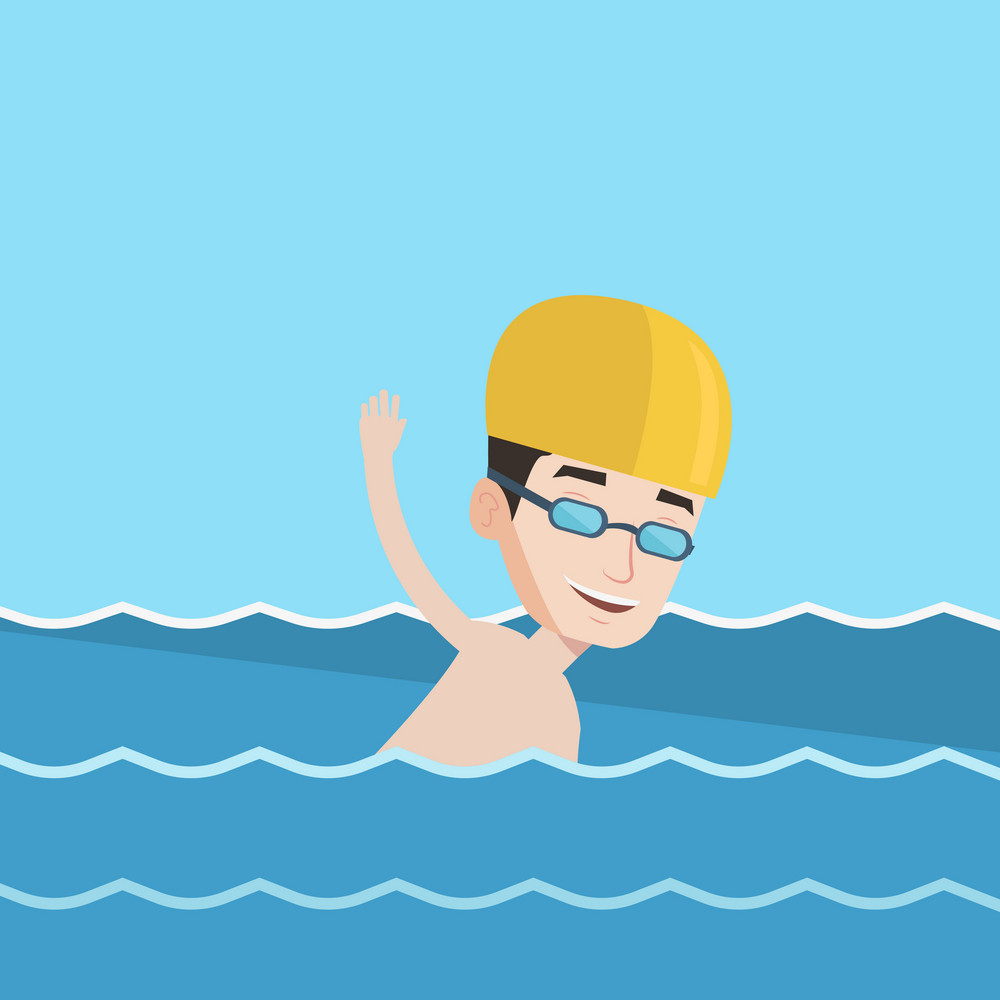 Young sportsman wearing cap and glasses swimming in pool. Professional male swimmer in swimming pool. Man swimming forward crawl style. Vector flat design illustration. Square layout.