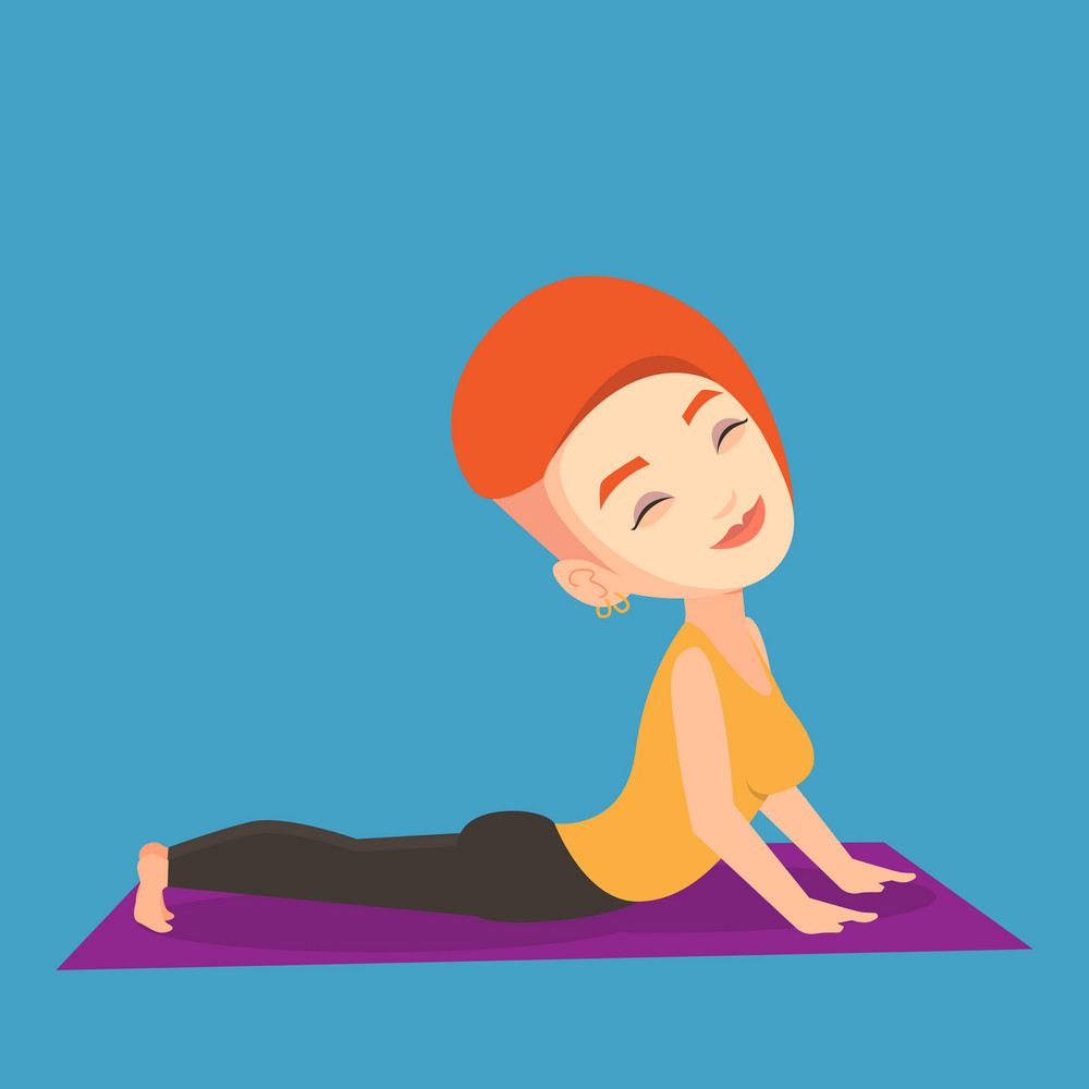 Young sportswoman practicing yoga upward dog pose. Caucasian sportswoman meditating in yoga upward dog position. Sporty woman doing yoga on the mat. Vector flat design illustration. Square layout.