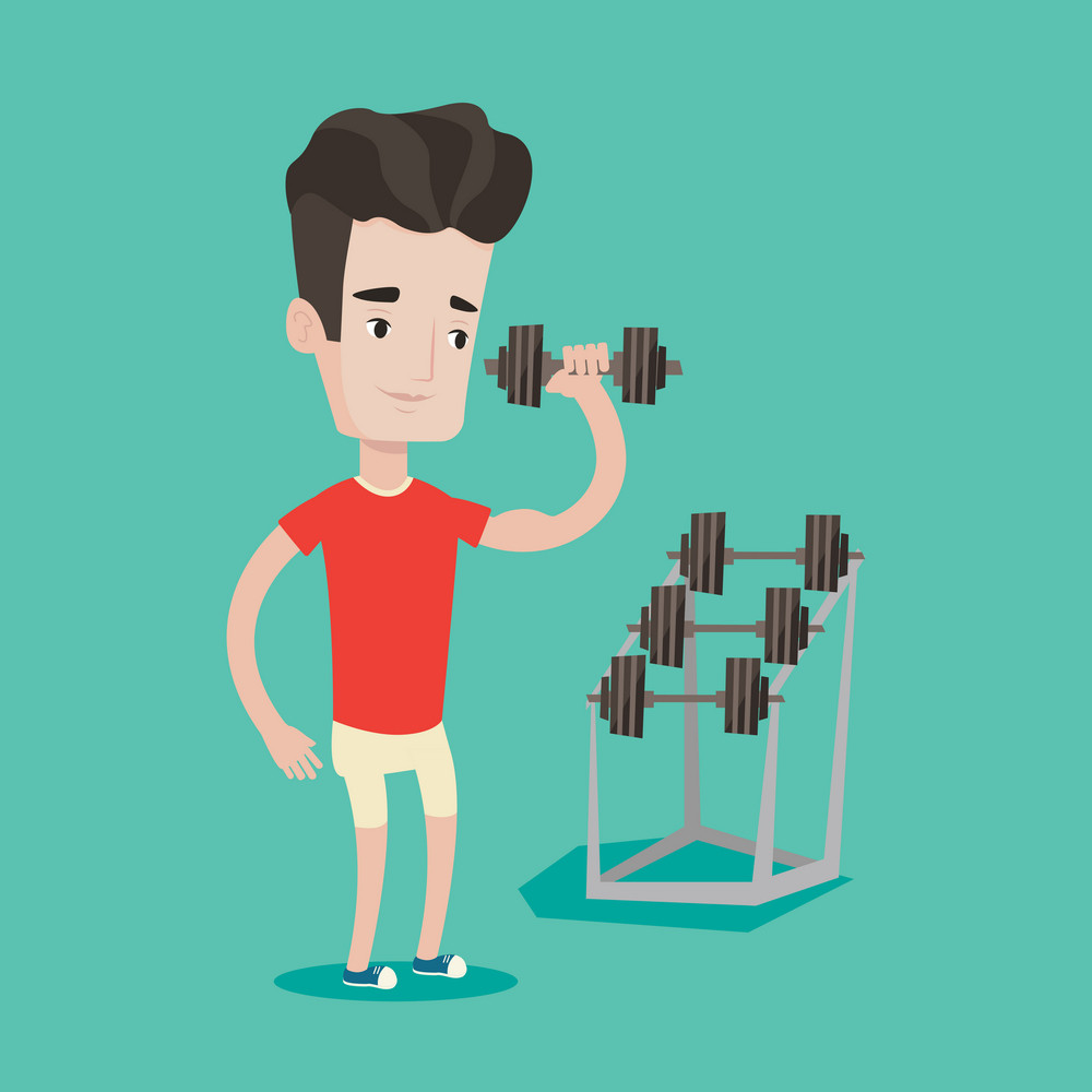 Young sporty man lifting a heavy weight dumbbell. Caucasian strong sportsman doing exercise with dumbbell. Male weightlifter holding dumbbell in the gym. Vector flat design illustration. Square layout