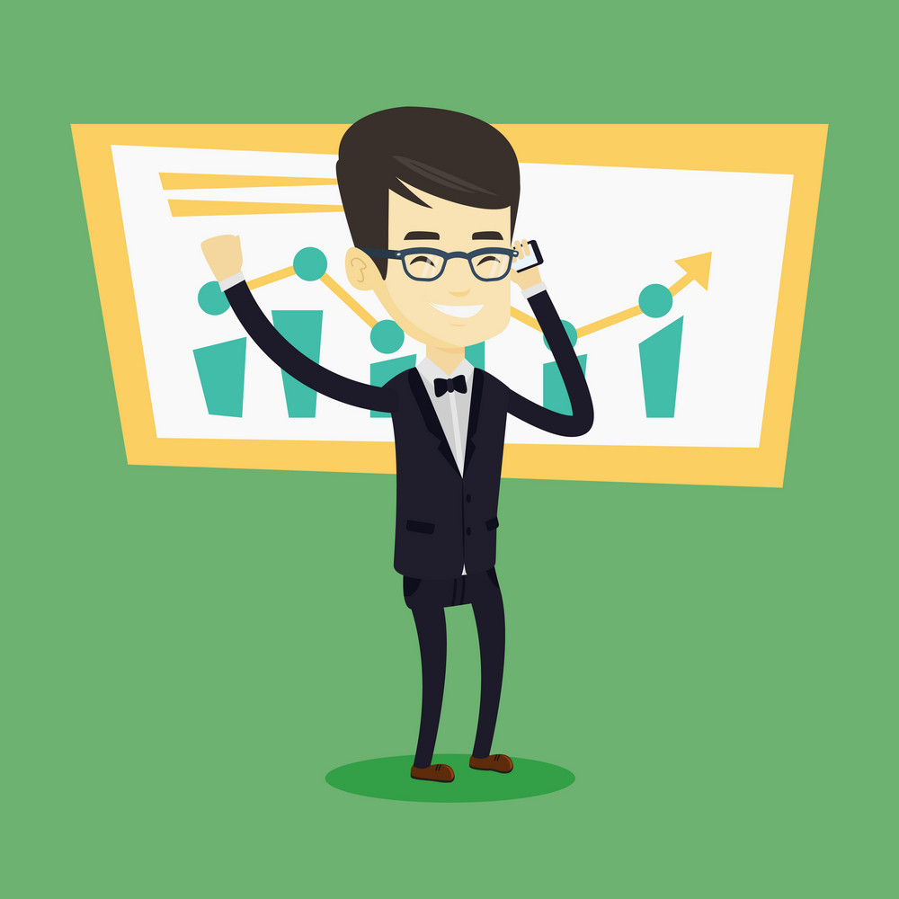 Young successful business man getting good news on mobile phone. Asian successful business man talking on a mobile phone. Business success concept. Vector flat design illustration. Square layout.
