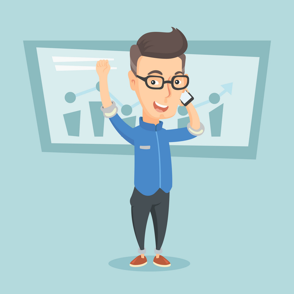 Young successful business man getting good news on mobile phone. Caucasian successful business man talking on mobile phone. Business success concept. Vector flat design illustration. Square layout.