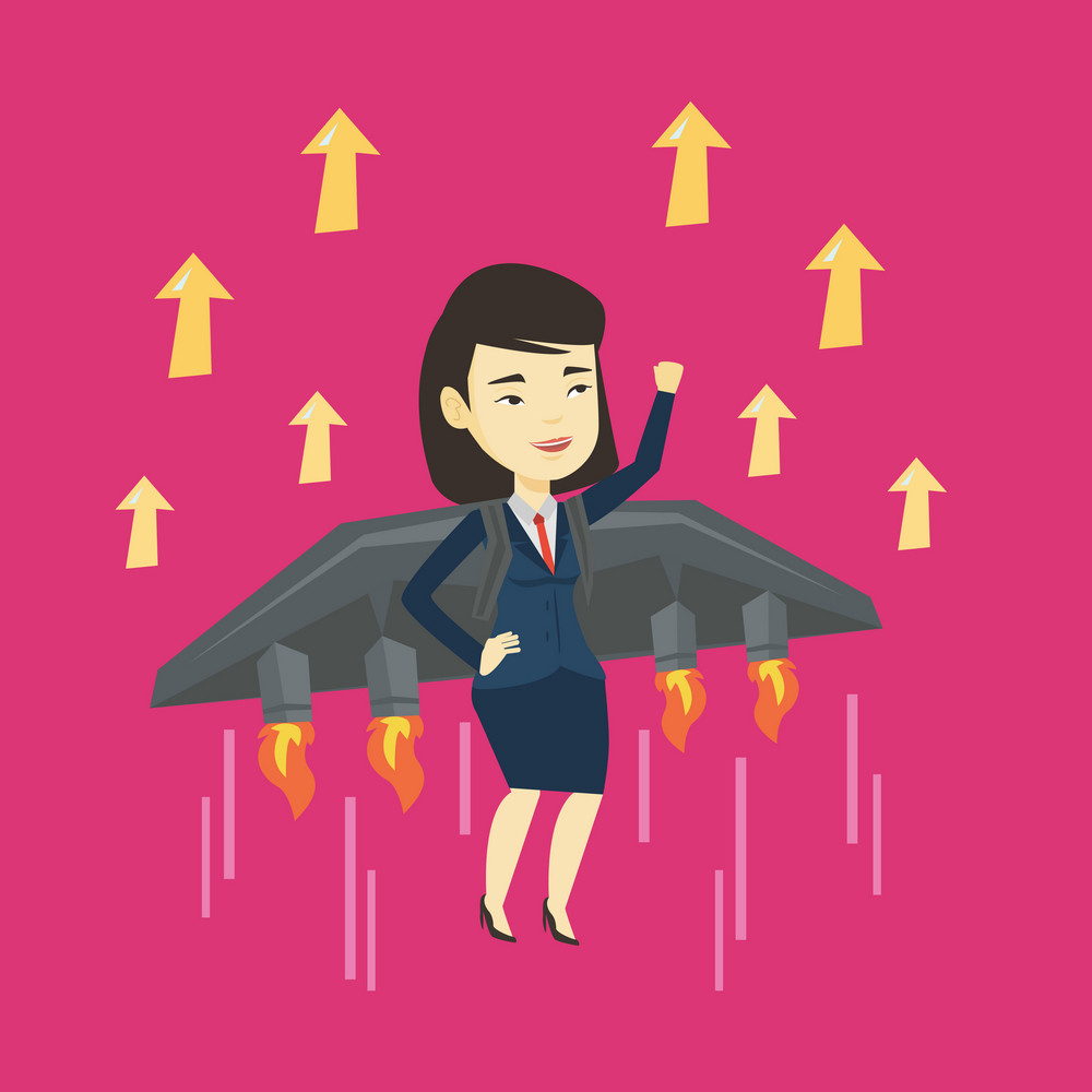 Young successful business woman flying on the business start up rocket. Asian happy business woman flying with a jet backpack. Business start up concept. Vector flat design illustration. Square layout