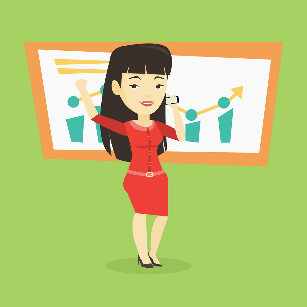 Young successful business woman getting good news on mobile phone. Asian successful business woman talking on a mobile phone. Business success concept. Vector flat design illustration. Square layout.
