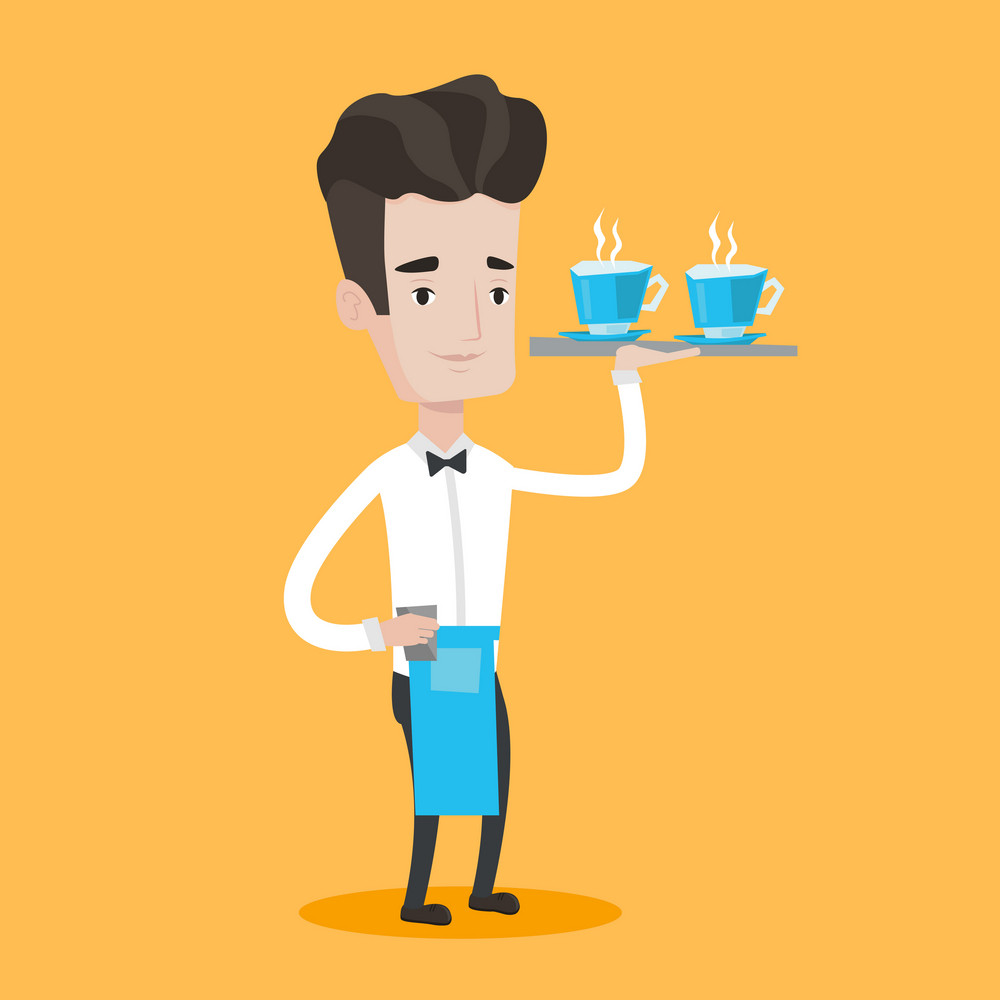 Young waiter holding a tray with cups of tea or coffee. Friendly waiter standing with tray with cups of hot flavoured beverages. Vector flat design illustration. Square layout.