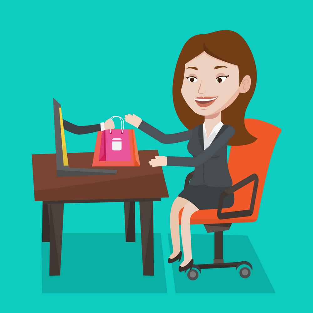 Young woman getting shopping bags from laptop. Woman making online order in virtual shop. Cheerful caucasian woman using laptop for online shopping. Vector flat design illustration. Square layout.