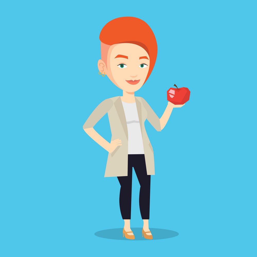 Young woman holding an apple in hand. Cheerful woman eating an apple. Caucasian woman enjoying fresh healthy red apple. Concept of healthy nutrition. Vector flat design illustration. Square layout.