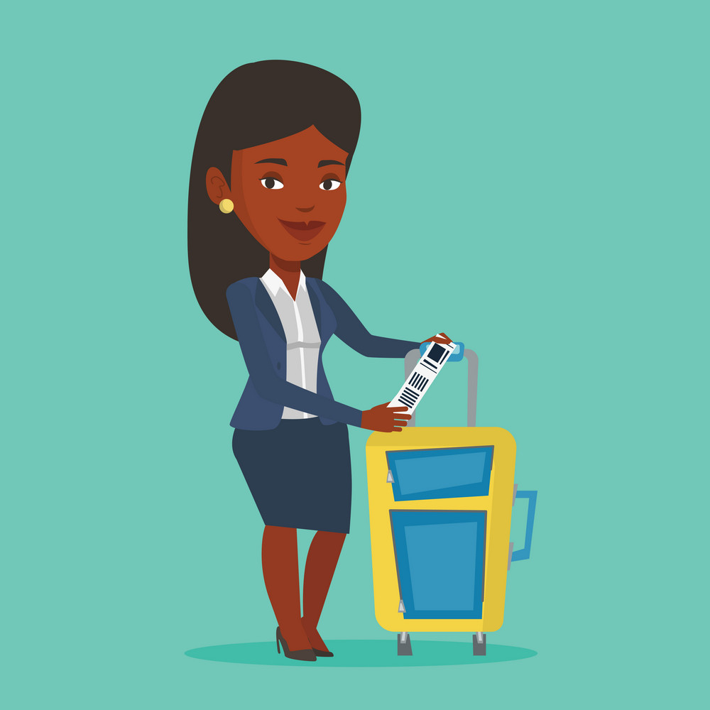 Young woman holding travel insurance tag. Business class passenger standing near suitcase with priority luggage tag. Business woman showing luggage tag. Vector flat design illustration. Square layout.
