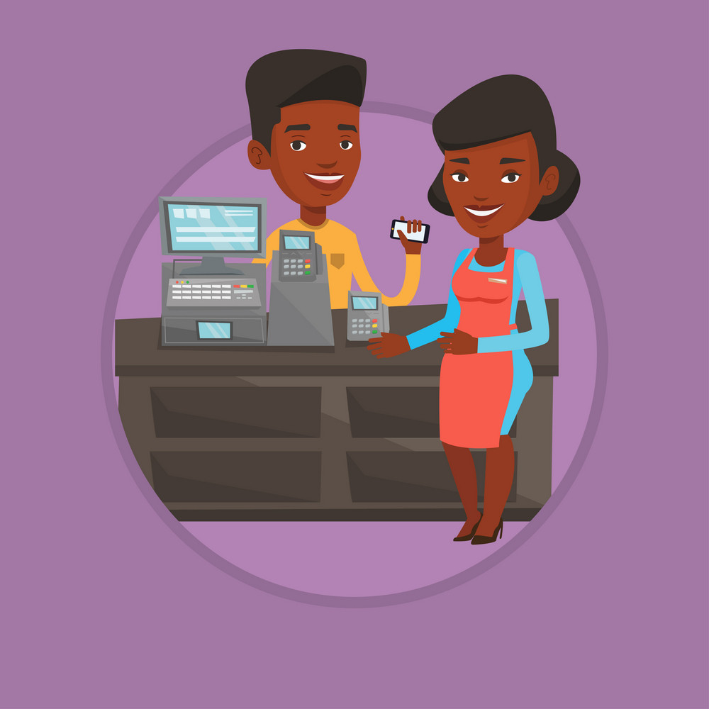 Young woman paying wireless with her smartphone at the supermarket checkout. Customer making payment for purchase with smartphone. Vector flat design illustration in the circle isolated on background.