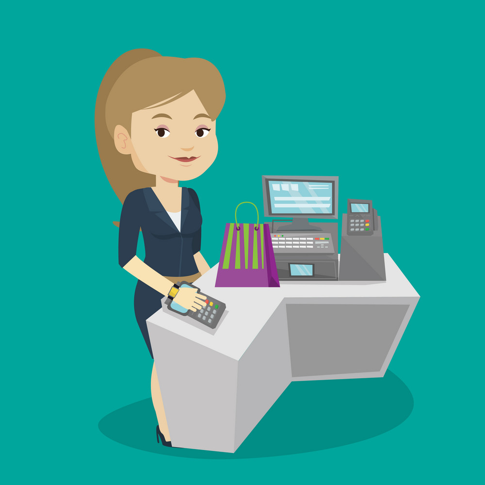 Young woman paying wireless with his smart watch at the checkout counter. Customer making payment for purchase with smart watch. Woman doing shopping. Vector flat design illustration. Square layout.