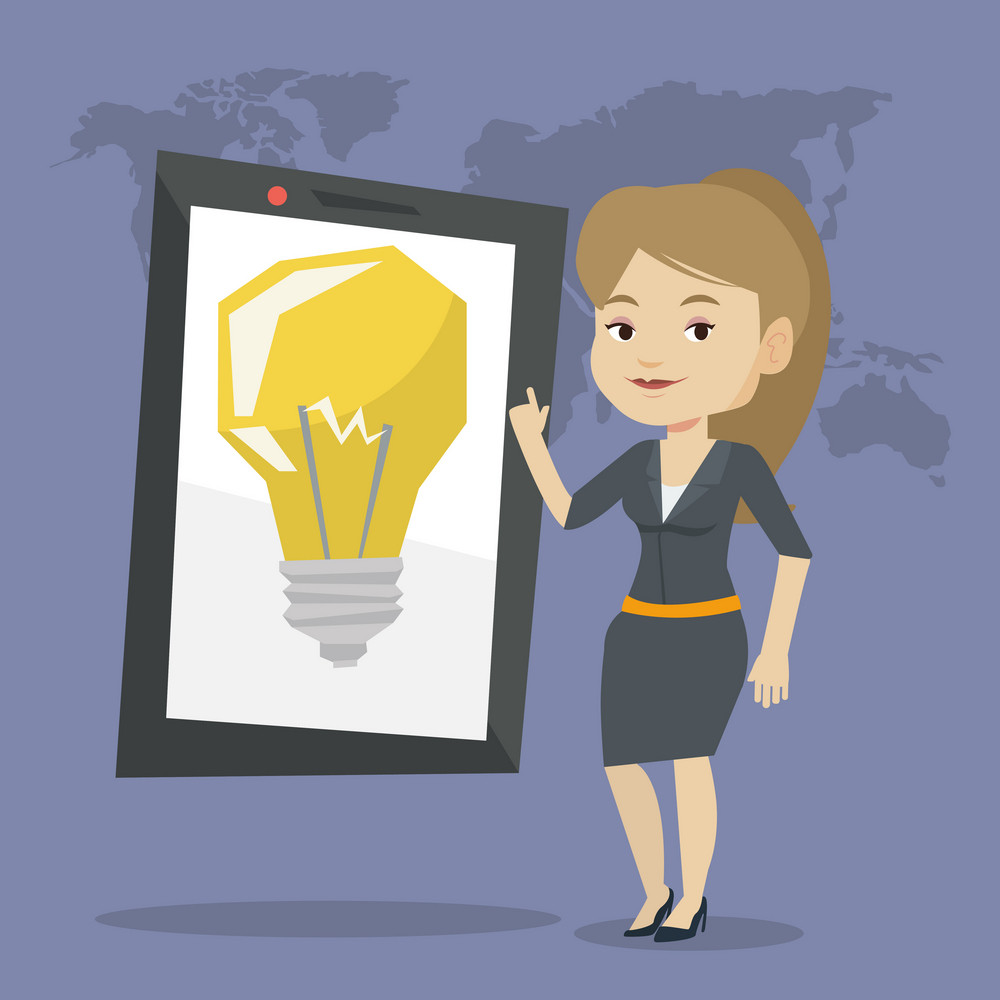 Young woman pointing at a big tablet computer with a light bulb on a screen. Busineswoman standing near tablet computer on the background with world map. Vector flat design illustration. Square layout