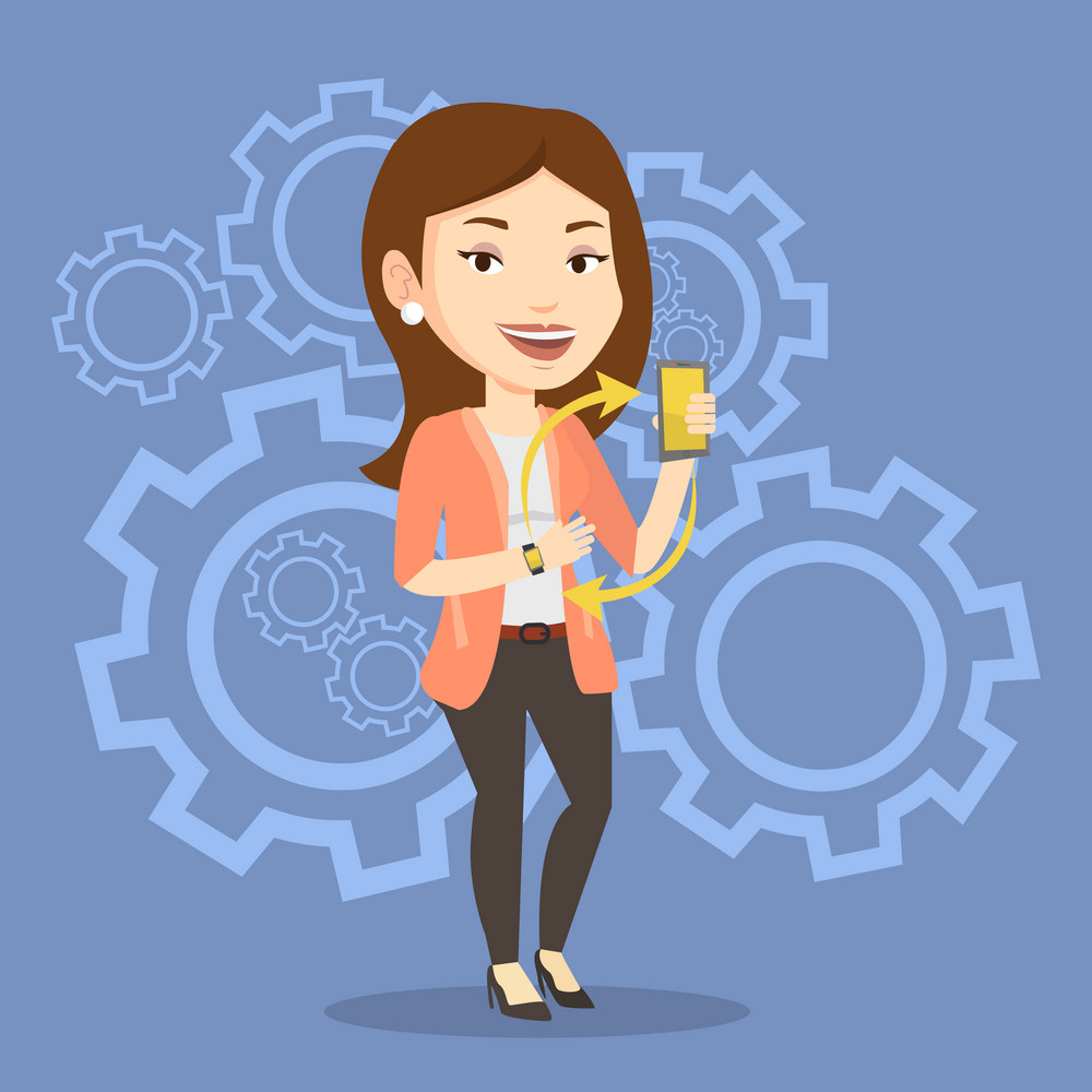 Young woman showing her smartphone and smart watch on the background with cogwheels. Concept of synchronization between smart watch and smartphone. Vector flat design illustration. Square layout.