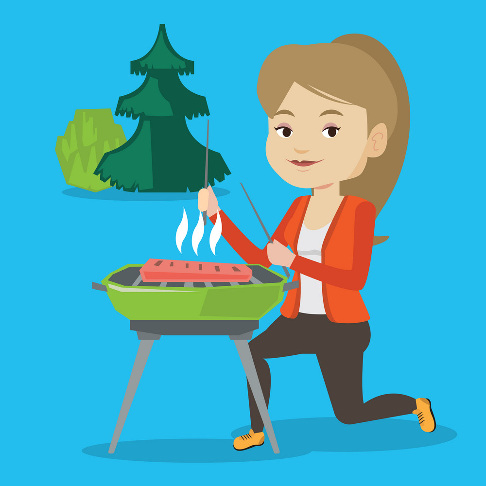 Young woman sitting next to barbecue grill in the park. Caucasian woman cooking steak on barbecue grill outdoors. Smiling woman having a barbecue party. Vector flat design illustration. Square layout.