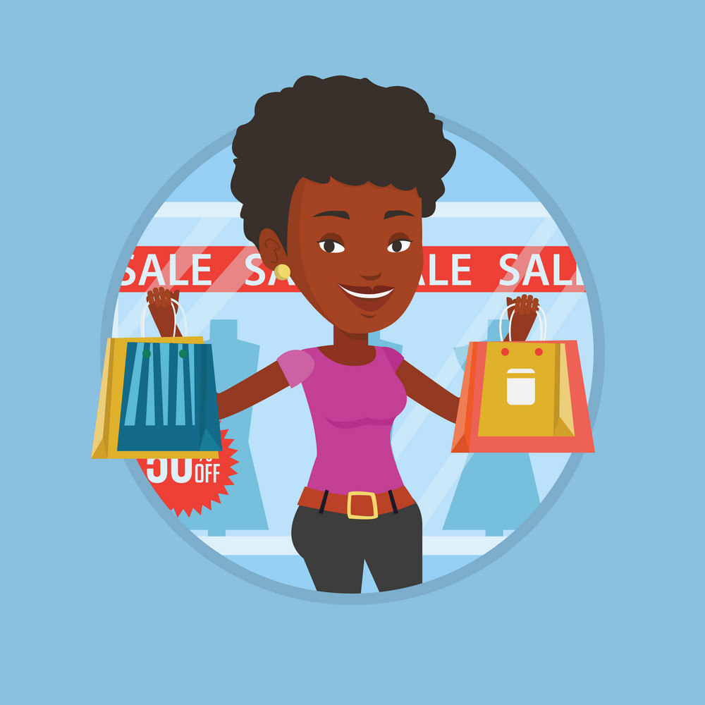 Young woman standing in front of clothes shop with sale sign. Woman holding shopping bags in front of storefront with text sale. Vector flat design illustration in the circle isolated on background.