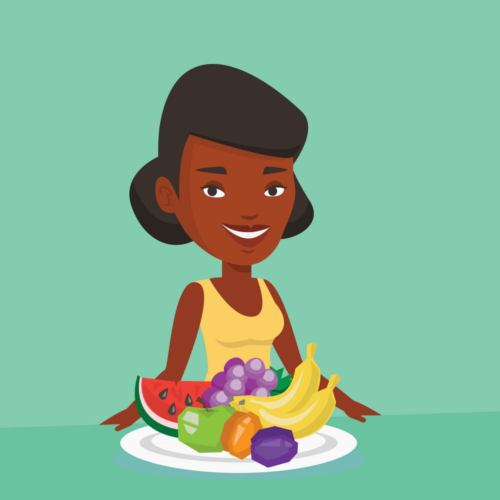 Young woman standing in front of table woth fresh fruits. Smiling woman with plate full of fruits. An african-american woman eating fresh healthy fruits. Vector flat design illustration. Square layout
