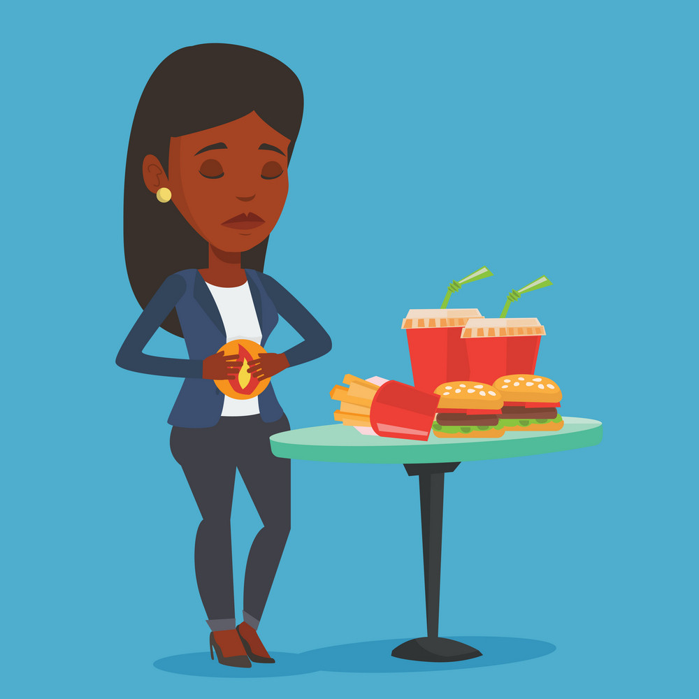 Young woman suffering from heartburn. An african-american sad woman having stomach ache from heartburn. Upset woman having stomach ache after fast food. Vector flat design illustration. Square layout.