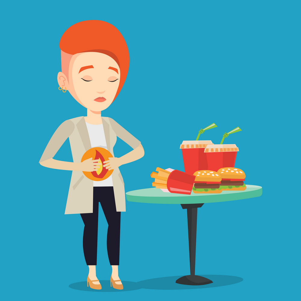 Young woman suffering from heartburn. Caucasian sad woman having stomach ache from heartburn. Upset woman having stomach ache after fast food. Vector flat design illustration. Square layout.