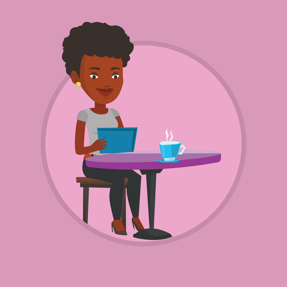 Young woman using a tablet and surfing in the social network. Woman rewriting in social network in a cafe. Social network concept. Vector flat design illustration in the circle isolated on background.