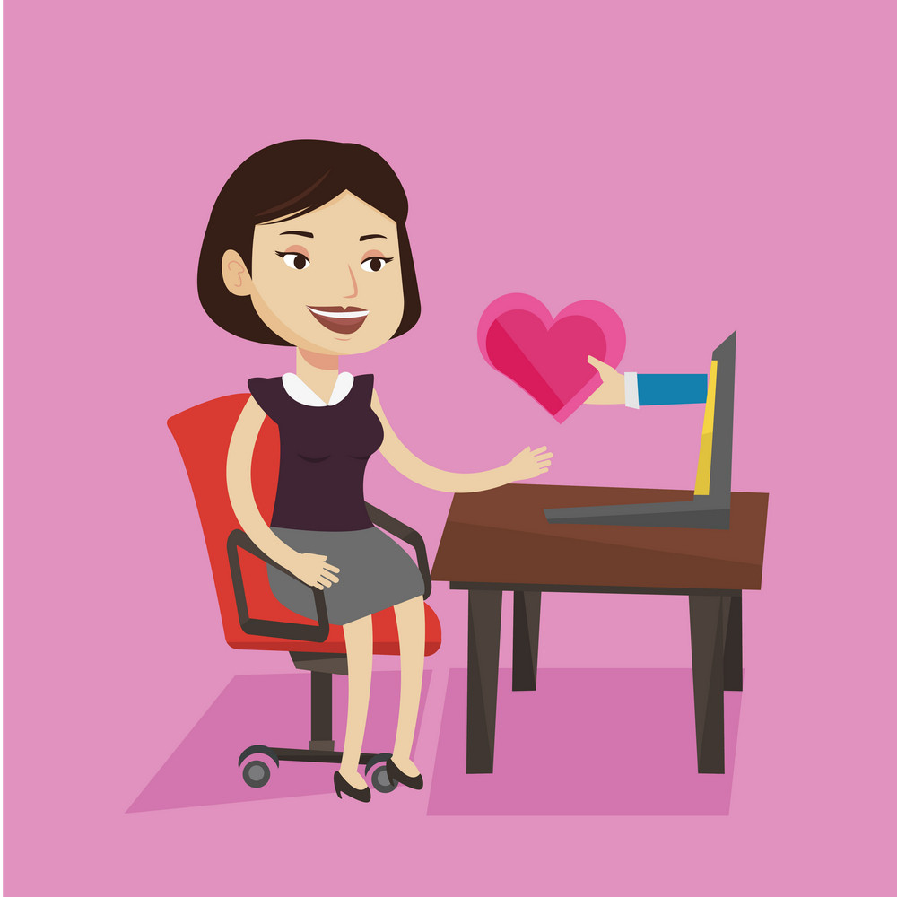 Young woman using laptop and dating online. Caucasian woman looking for online date on the internet. Girl getting virtual love message on the internet. Vector flat design illustration. Square layout.