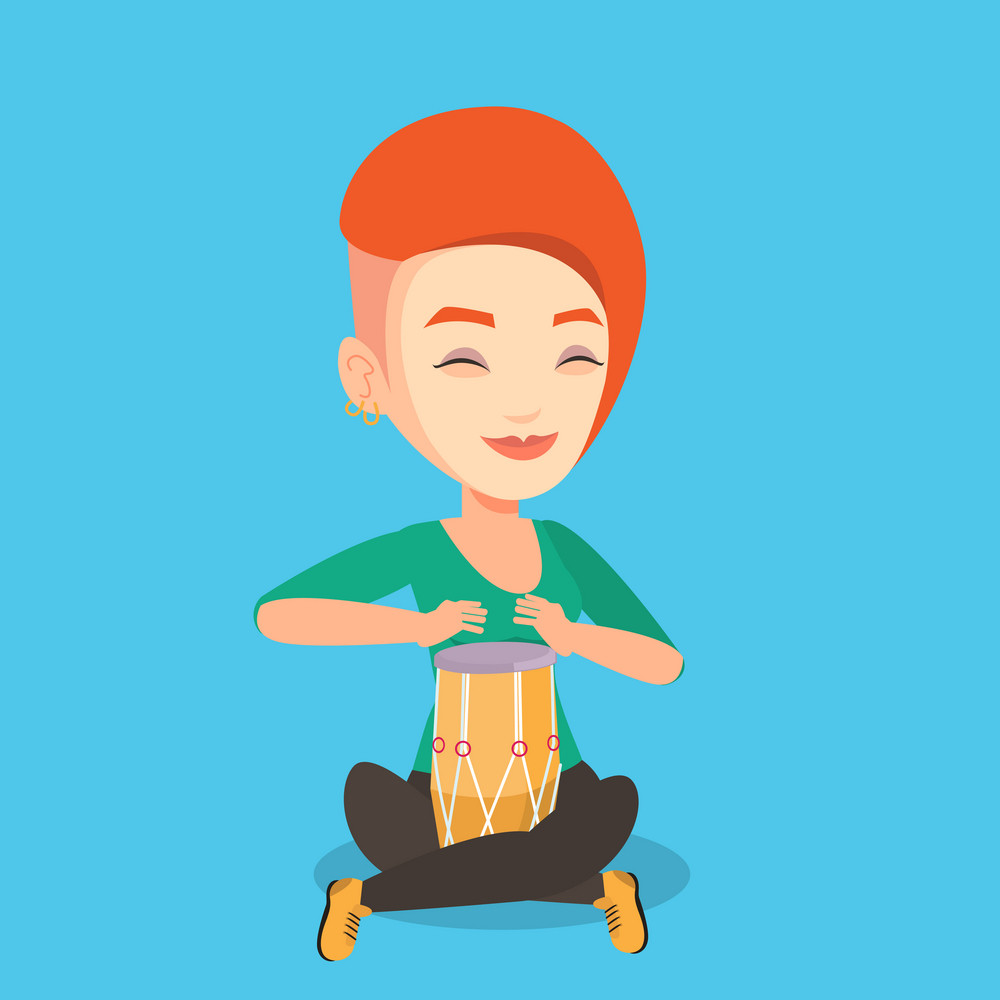 Young woman with eyes closed playing ethnic drum. Caucasian musician playing ethnic drum. Woman playing ethnic music on tom-tom. Vector flat design illustration. Square layout.