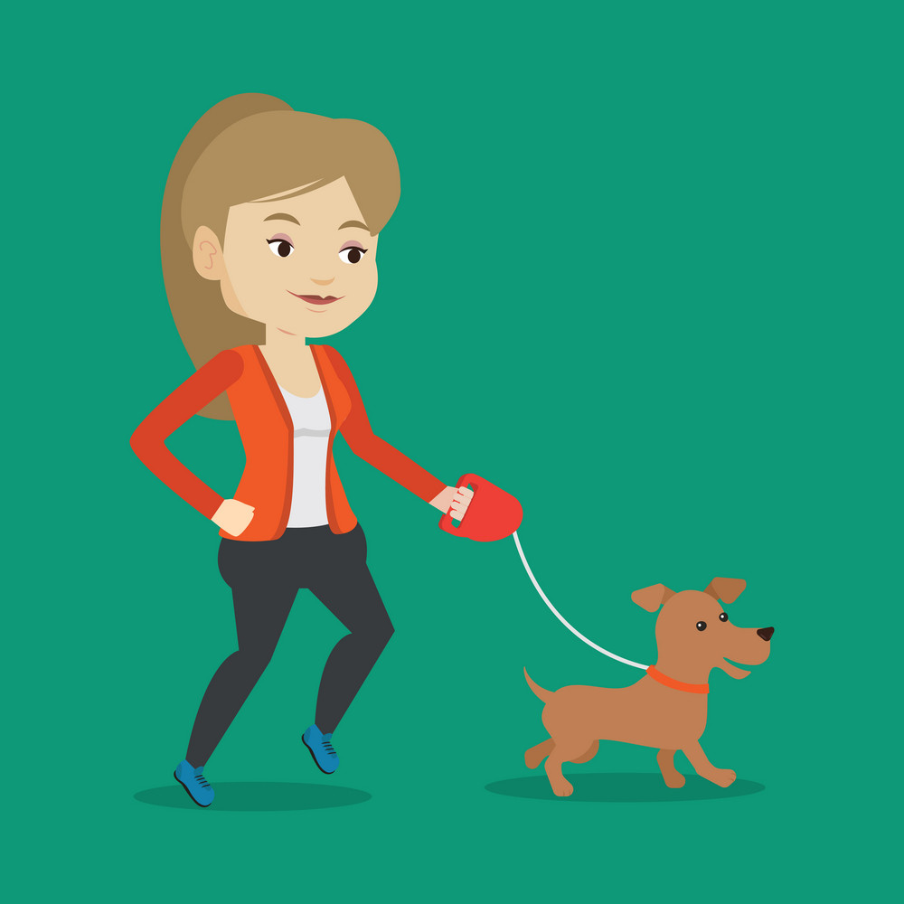 Young woman with her dog. Happy woman taking dog on walk. Caucasian woman walking with her small dog. Vector flat design illustration. Square layout.