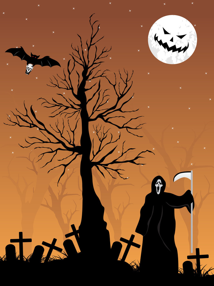 Graveyard Background With Dead Tree