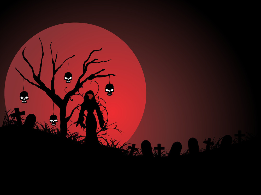 Graveyard Night Scene In The Moonlight