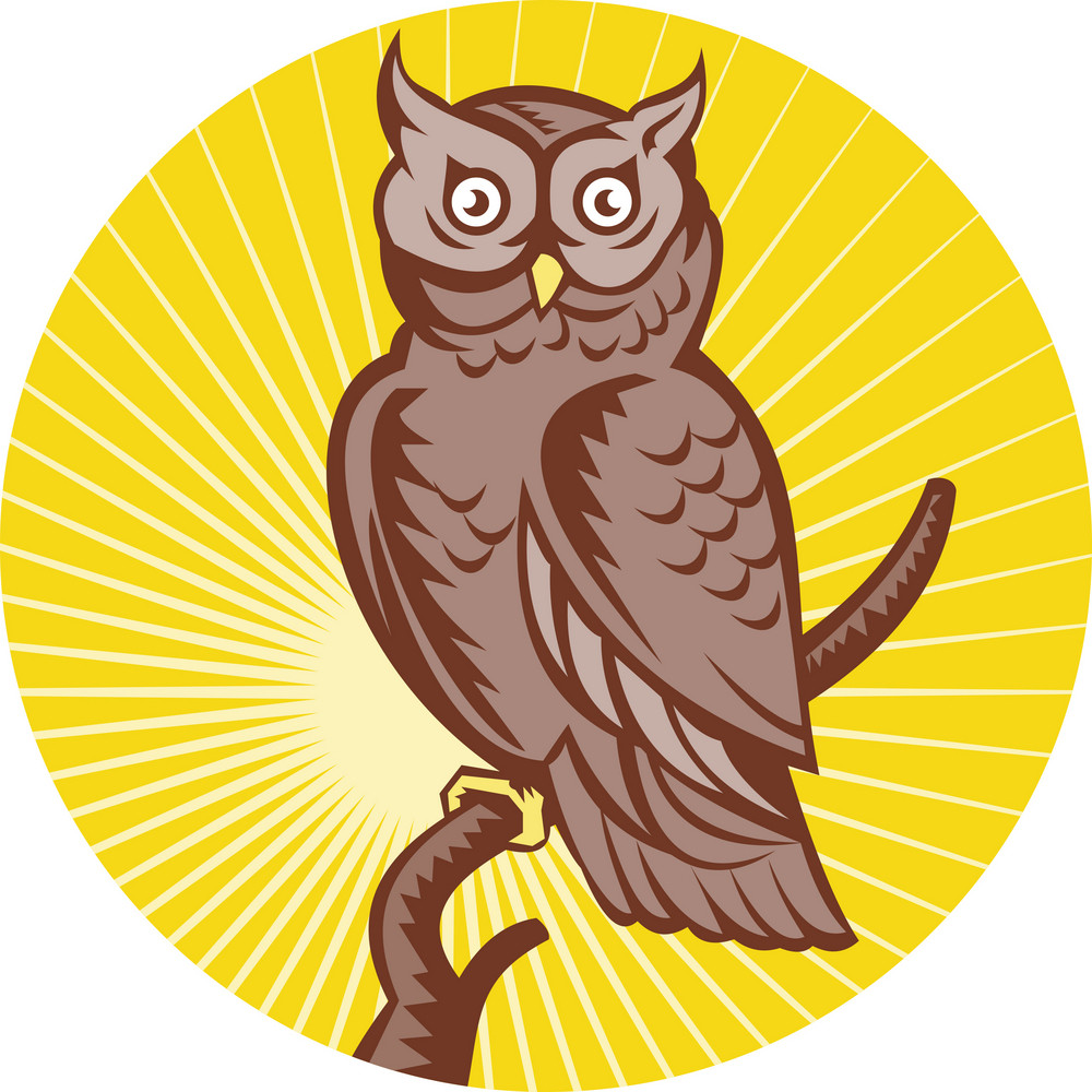 Great Horned Owl Perching Woodcut